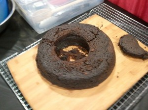 Cake after reassembling parts.